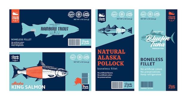 Vários rótulos horizontais e verticais de peixes Vetor Premium