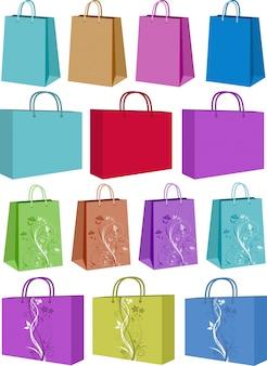 Vários sacos de compras alguns com desenhos florais