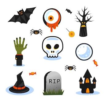 Vários símbolos do feriado terrível uma mão zumbi
