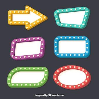 Vários sinais de cor neon