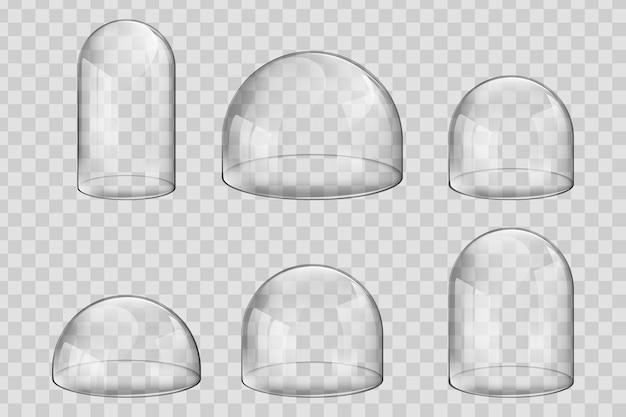 Vários tamanhos e cúpulas de vidro de forma esférica ou potes de sino.