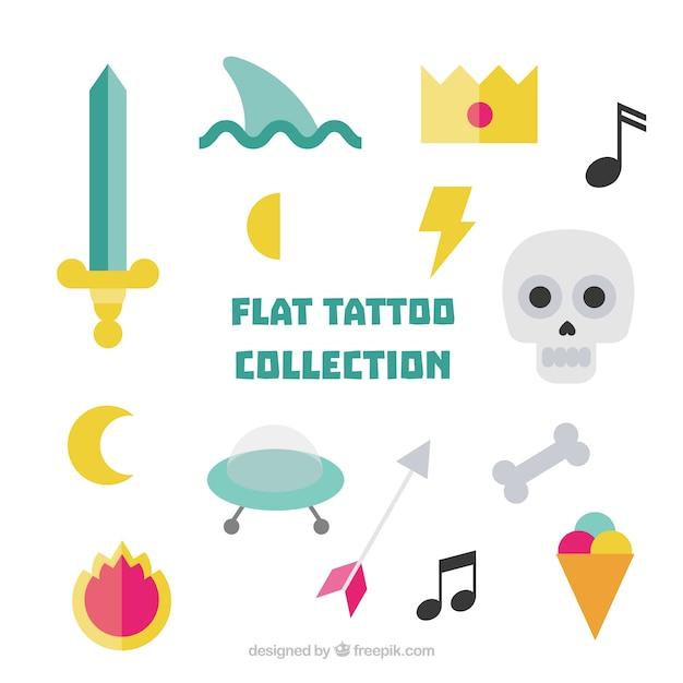 Vários tatuagens plana colorida