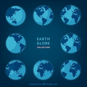 Vários, terra, globos, azul, tons