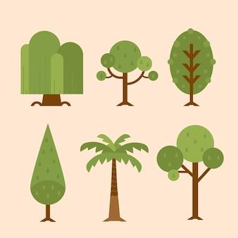 Vários tipos de árvores desenhados à mão