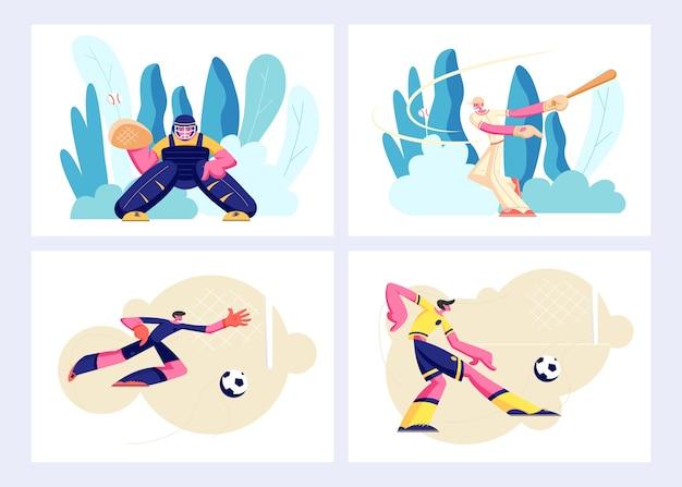 Vários tipos de conjunto de esportes, jogos e jogadores em ação.