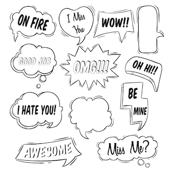 Vários tipos de discurso de bolha com tipografia e usando o estilo doodle