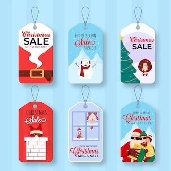 Vários tipos de etiqueta de venda de feliz natal no fundo da faixa azul