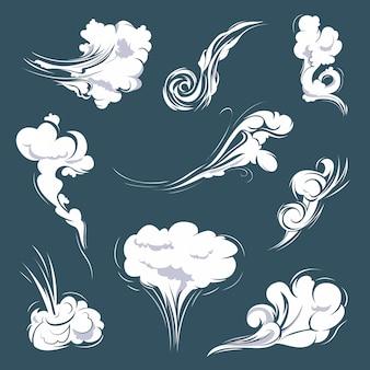 Vários tipos de ilustrações de fumaça e nuvem são definidos para o modelo de vento.