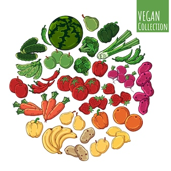Vários tipos de legumes frescos e frutas.