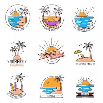 Vários tipos de logotipos de design plano sobre o verão para suas necessidades.