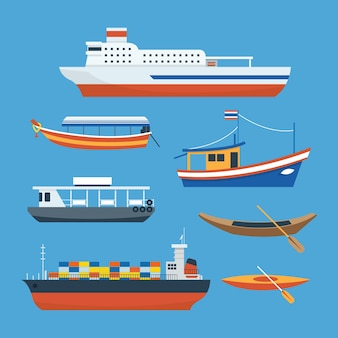 Vários tipos de navio, barco, balsa, vista lateral