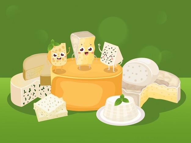 Vários tipos de queijos diferentes, saborosos produtos lácteos naturais