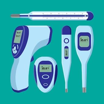 Vários tipos de termômetros design plano