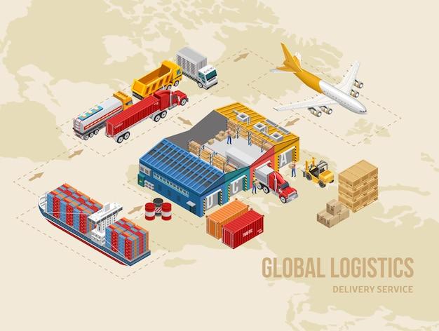 Vários transportes de mercadorias em torno do armazém