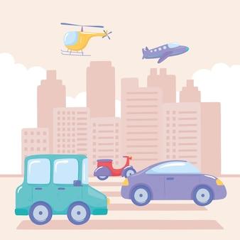 Vários transportes urbanos na cidade
