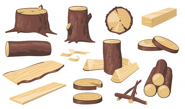 Vários troncos e troncos de madeira