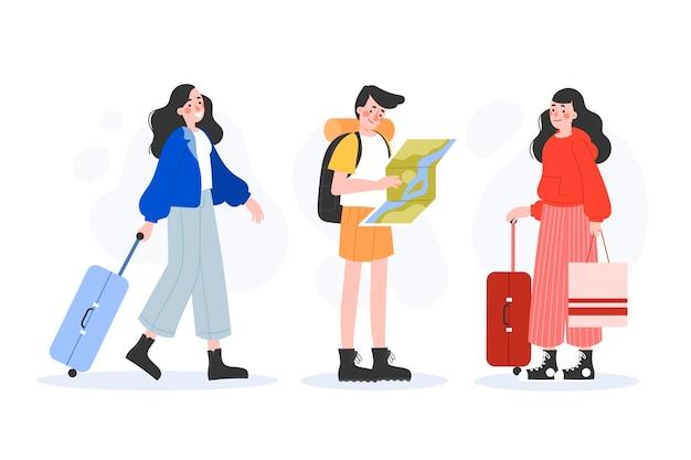 Vários turistas desenhados à mão com seu conjunto de bagagem