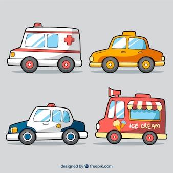 Vários veículos coloridos