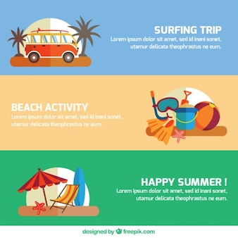 Vários verão viagens de banners