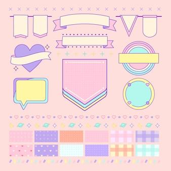 Vários vetores de elemento de design bonito e feminino