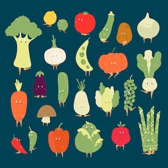 Vários vetores de personagens de desenhos animados vegetais orgânicos