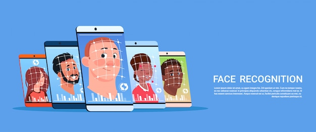 Varredura biométrica do conceito do sistema do reconhecimento de cara do usuário tecnologia moderna do controle de acesso do telefone esperto