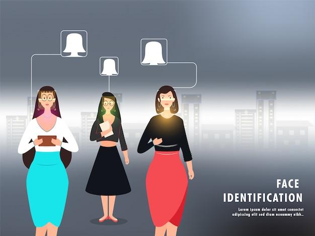 Varredura facial de mulheres para reconhecimento e aprovação de identidade