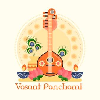 Vasant panchami em design plano