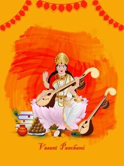 Vasant panchami feliz com ilustração criativa para a deusa saraswati