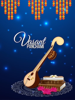 Vasant panchami fundo criativo com saraswati veena e livros