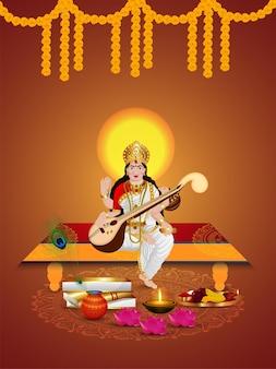 Vasant panchami ilustração criativa da deusa saraswati e plano de fundo