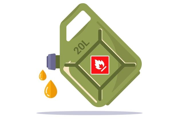 Vasilha de ferro vermelha com gasolina amarela. ilustração vetorial plana.