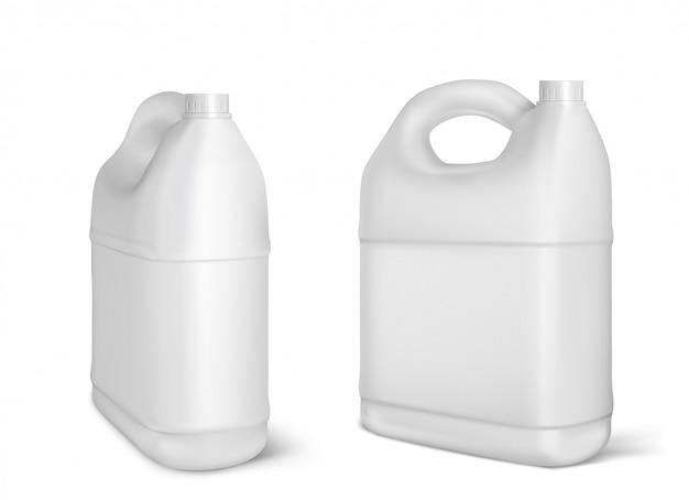 Vasilhas de plástico, garrafas de galão branco isoladas