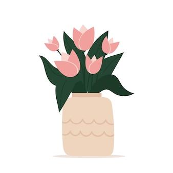 Vaso bonito e elegante com um buquê de flores. cartão de felicitações. dia das mães, dia internacional da mulher, aniversário. ilustração em vetor plana primavera isolada no fundo branco.
