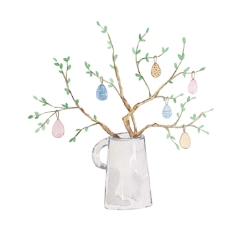 Vaso de aquarela primavera com galhos e ovos em um fundo branco. lindo cartão de páscoa colorido. oi primavera.