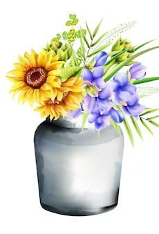 Vaso de cerâmico em aquarela com girassóis, glória da manhã e alcachofra, folhas verdes