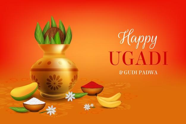 Vaso de flor ugadi feliz realista