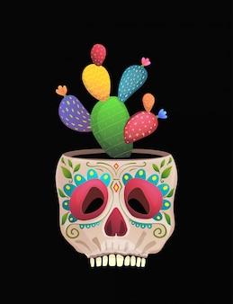 Vaso de flores de caveira de açúcar com design de estilo mexicano engraçado de cacto.