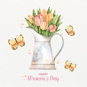 Vaso e borboletas do dia internacional da mulher em aquarela