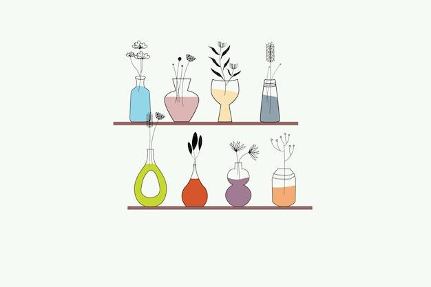 Vaso e coleção abstrata de flores
