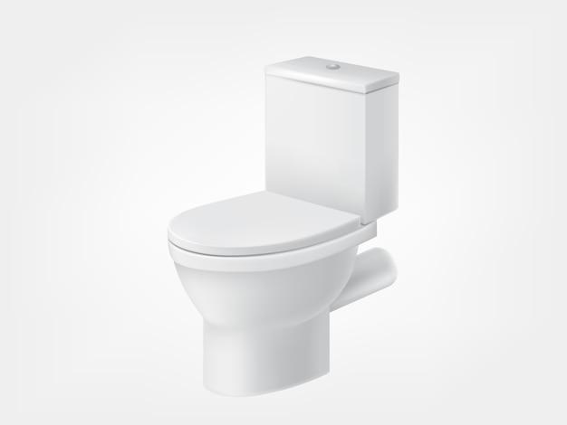 Vaso sanitário com tampa branca maquete