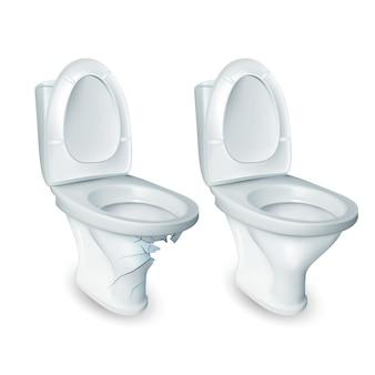 Vaso sanitário e banheiro danificado bacia cerâmica