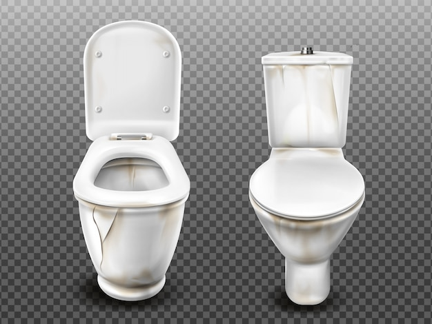 Vaso sanitário sujo quebrado velho