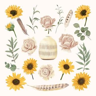 Vaso vintage com flores e penas