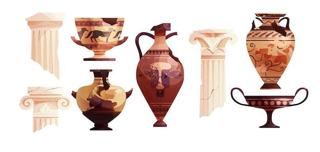 Vasos antigos e colunas gregas quebrados pilar da roma antiga pote arqueológico de cerâmica