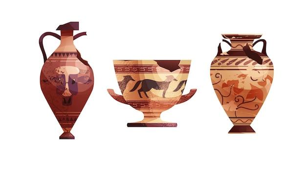 Vasos antigos quebrados pote arqueológico de cerâmica