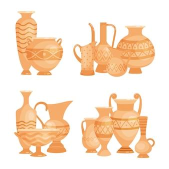 Vasos antigos, tigelas e cálices em fundo branco