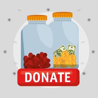 Vasos com dinheiro para doação de caridade