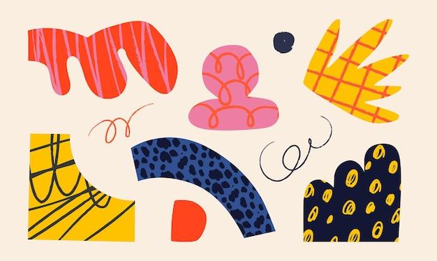 Vasos de cerâmica e objetos abstratos aleatórios de doodle abstração conceito de cerâmica várias texturas