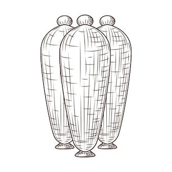 Vasos de cerâmica gravados estilo isolado no fundo branco. esboço vintage close-up.